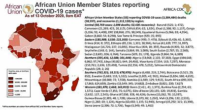 Coronavirus: African Union Member States reporting COVID-19 cases as of 13 October 2020, 9 am EAT