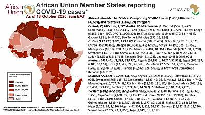 Coronavirus: African Union Member States reporting COVID-19 cases as of 18 October 2020, 9 am EAT