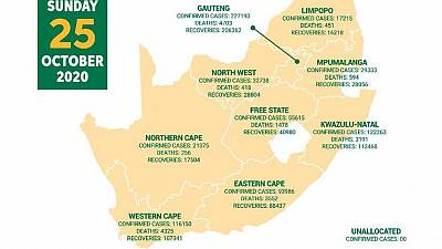 Coronavirus - South Africa: COVID-19 statistics in South Africa (25 October 2020)
