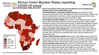 Coronavirus: African Union Member States reporting COVID-19 cases as of 26 October 2020, 9 am EAT