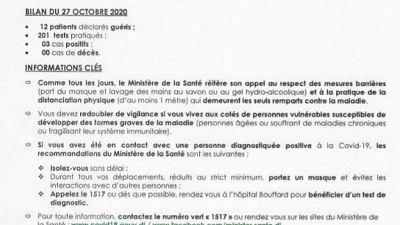 Coronavirus - Djibouti : Point de Presse sur la Situation COVID-19 le 27 octobre 2020