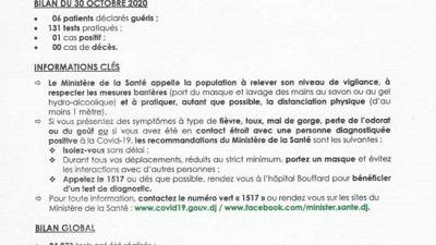 Coronavirus - Djibouti : Point de Presse sur la Situation COVID-19 le 30 octobre 2020