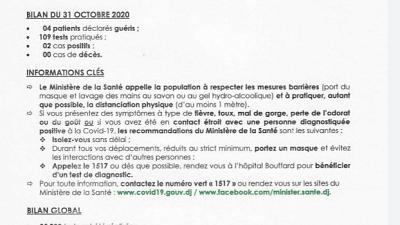 Coronavirus - Djibouti : Point de Presse sur la Situation COVID-19 le 31 octobre 2020