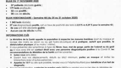 Coronavirus - Djibouti : Point de Presse sur la Situation COVID-19 le 1 novembre 2020
