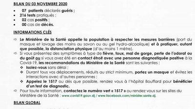 Coronavirus - Djibouti : Point de Presse sur la Situation COVID-19 le 03 novembre 2020