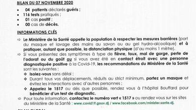 Coronavirus - Djibouti : Point de Presse sur la Situation COVID-19 le 07 novembre 2020