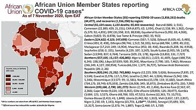 Coronavirus: African Union Member States reporting COVID-19 cases as of 7 November 2020, 6 pm EAT