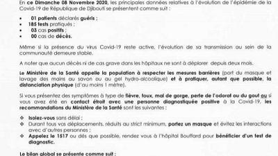 Coronavirus - Djibouti : Point de Presse sur la Situation COVID-19 le 08 novembre 2020