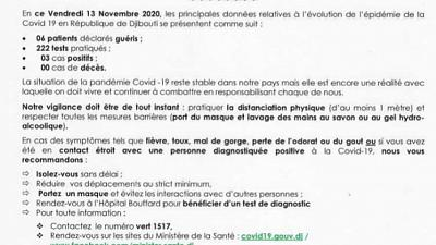 Coronavirus - Djibouti : Point de Presse sur la Situation COVID-19 le 13 novembre 2020