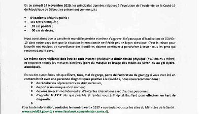 Coronavirus - Djibouti : Point de Presse sur la Situation COVID-19 le 14 novembre 2020