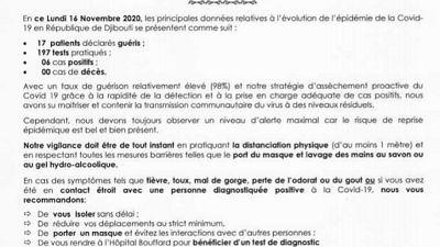 Coronavirus - Djibouti : Point de Presse sur la Situation COVID-19 le 16 novembre 2020