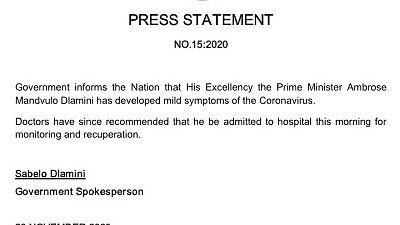 Coronavirus - Eswatini: Prime Minister Ambrose Mandvulo Dlamini has developed mild symptoms of COVID-19