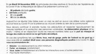 Coronavirus - Djibouti : Point de Presse sur la Situation COVID-19 le 24 novembre 2020
