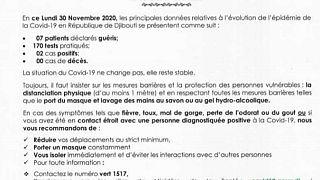 Coronavirus - Djibouti : Point de Presse sur la Situation COVID-19 le 30 novembre 2020
