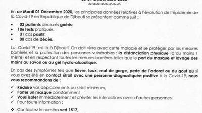 Coronavirus - Djibouti : Point de Presse sur la Situation COVID-19 le 1 décembre 2020
