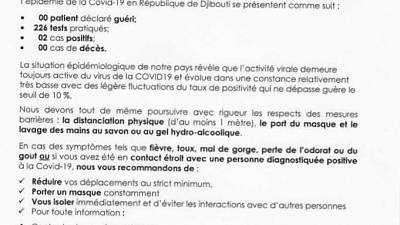 Coronavirus - Djibouti : Point de Presse sur la Situation COVID-19 le 5 décembre 2020