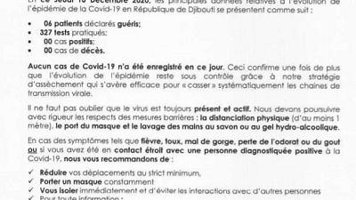 Coronavirus - Djibouti : Point de Presse sur la Situation COVID-19 le 10 décembre 2020