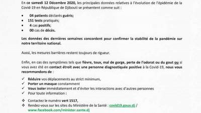 Coronavirus - Djibouti : Point de Presse sur la Situation COVID-19 le 12 décembre 2020