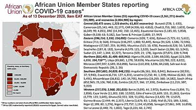 Coronavirus: African Union Member States reporting COVID-19 cases as of 13 December 2020, 9 am EAT