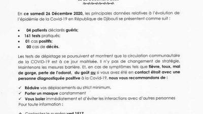 Coronavirus - Djibouti : Point de Presse sur la Situation COVID-19 le 26 décembre 2020