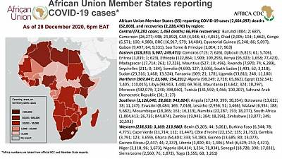 Coronavirus: African Union Member States reporting COVID-19 cases as of 28 December 2020, 6 pm EAT