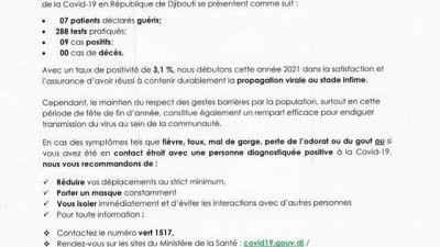 Coronavirus - Djibouti : Point de Presse sur la Situation COVID-19 le 1 janvier 2021