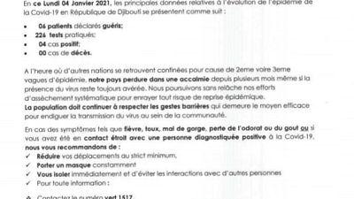 Coronavirus - Djibouti : Point de Presse sur la Situation COVID-19 le 4 janvier 2021