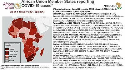 Coronavirus: African Union Member States reporting COVID-19 cases as of 4 January 2021, 6 pm EAT