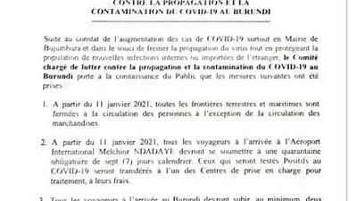 Coronavirus - Burundi : COVID-19 mettre à jour 8 janvier 2021