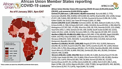 Coronavirus: African Union Member States reporting COVID-19 cases as of 8 January 2021, 6 pm EAT