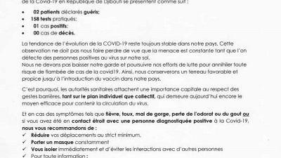 Coronavirus - Djibouti : Point de Presse sur la Situation COVID-19 le 9 janvier 2021
