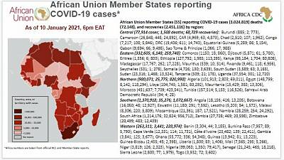 Coronavirus: African Union Member States reporting COVID-19 cases as of 10 January 2021, 6 pm EAT