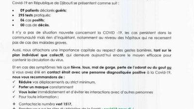 Coronavirus - Djibouti : Point de Presse sur la Situation COVID-19 le 11 janvier 2021