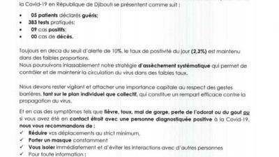 Coronavirus - Djibouti : Point de Presse sur la Situation COVID-19 le 14 janvier 2021