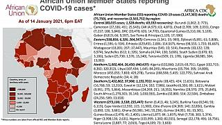 Coronavirus: African Union Member States reporting COVID-19 cases as of 14 January 2021, 6 pm EAT
