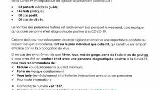 Coronavirus - Djibouti : Point de Presse sur la Situation COVID-19 le 16 janvier 2021