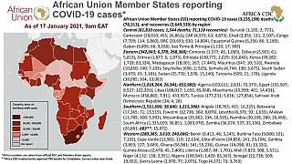 Coronavirus: African Union Member States reporting COVID-19 cases as of 17 January 2021, 9 am EAT