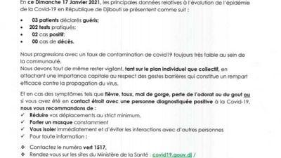Coronavirus - Djibouti : Point de Presse sur la Situation COVID-19 le 17 janvier 2021