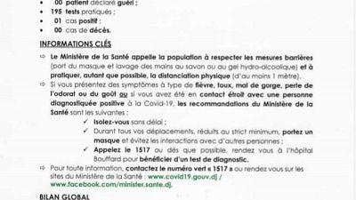 Coronavirus - Djibouti : Point de Presse sur la Situation COVID-19 le 24 janvier 2021