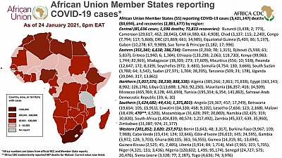 Coronavirus: African Union Member States reporting COVID-19 cases as of 24 January 2021, 6 pm EAT