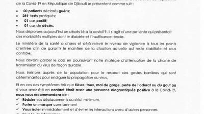 Coronavirus - Djibouti : Point de Presse sur la Situation COVID-19 le 31 janvier 2021