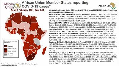 Coronavirus: African Union Member States reporting COVID-19 cases as of 6 February 2021, 9 am EAT