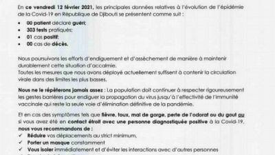 Coronavirus - Djibouti : Point de Presse sur la Situation COVID-19 le 12 février 2021