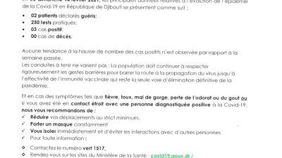 Coronavirus - Djibouti : Point de Presse sur la Situation COVID-19 le 14 février 2021