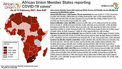 Coronavirus: African Union Member States reporting COVID-19 cases as of 15 February 2021, 9 am EAT