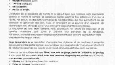 Coronavirus - Djibouti : Point de Presse sur la Situation COVID-19 le 21 février 2021