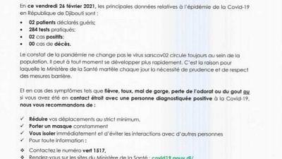 Coronavirus - Djibouti : Point de Presse sur la Situation COVID-19 le 26 février 2021