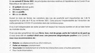 Coronavirus - Djibouti : Point de Presse sur la Situation COVID-19 le 27 février 2021