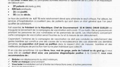 Coronavirus - Djibouti : Point de Presse sur la Situation COVID-19 le 15 mars 2021