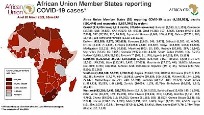 Coronavirus: African Union Member States reporting COVID-19 cases as of 20 March 2021, 9 am EAT